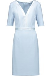 Diane Von Furstenberg Maisie Satin Trimmed Stretch Crepe Dress Sky Blue