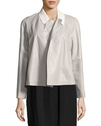 Lafayette 148 New York Callan Two Tone Leather Jacket White
