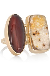 Melissa Joy Manning 14 Karat Gold Tiger's Eye And Druzy Ring Metallic