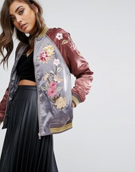 Miss Selfridge Satin Embroidered Bomber Jacket Burgundy And Grey Multi