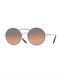 Oliver Peoples Nickol Round Mirrored Sunglasses Blue