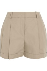 Michael Kors Cotton And Linen Blend Shorts Nude