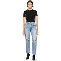 Moussy Vintage Blue Odessa Wide Straight Jeans