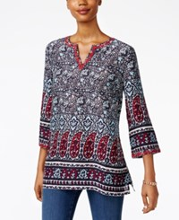 Charter Club Paisley Print Split Neck Tunic Only At Macy's Intrepid Blue Combo