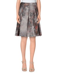 D.Exterior Skirts Knee Length Skirts Women Light Grey