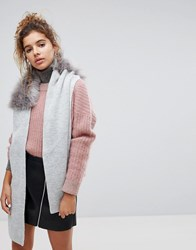 Urbancode Wrap Around Knitted Scarf With Faux Faur Collar Grey