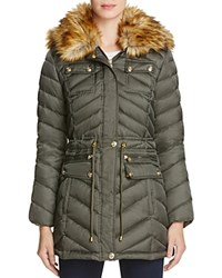 Laundry By Shelli Segal Faux Fur Trim Anorak Tea Tree