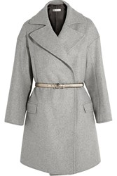 Golden Goose Belted Wool Blend Coat Light Gray