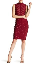 Wow Couture Embellished Mesh Bodycon Dress Red