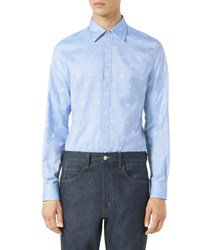 Gucci Bee Jacquard Oxford Duke Shirt Light Blue