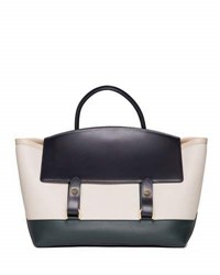 Sacai Large Colorblock Flap Top Tote Bag Blue