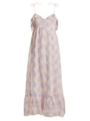Athena Procopiou Violet's Whisper Lace Trimmed Maxi Dress Purple Multi