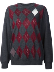 Alexander Wang Argyle Pullover With Sheer Intarsia Diamonds Grey