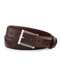 W.Kleinberg Matte Alligator Belt With 'The Chair' Buckle Chocolate Made To Order