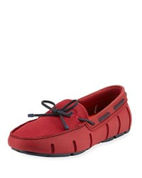 Swims Mesh And Rubber Braided Lace Boat Shoe Red