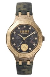 Versus By Versace Laguna City Leather Strap Watch 40Mm Green Gold