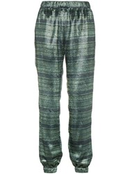 Haney Track Striped Trousers Silk Polyester Green