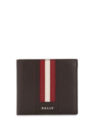 Bally Striped Saffiano Leather Classic Wallet Coffee Red