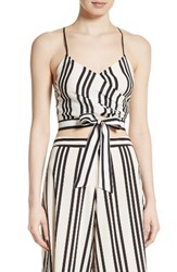 Alice Olivia Women's Rayna Tie Front Crossover Crop Tank
