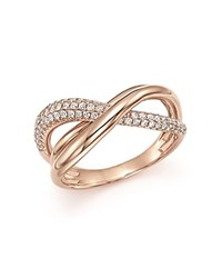 Bloomingdale's Diamond Pave Crossover Ring In 14K Rose Gold 0.50 Ct. T.W. 100 Exclusive White Rose