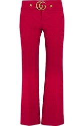 Gucci Cropped Embellished Crepe Flared Pants It38
