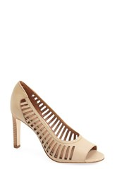 Women's Elie Tahari 'Harbor' Open Toe Pump Ivory Leather