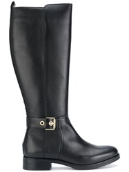 Tommy Hilfiger Knee High Boots Cotton Calf Leather Leather Rubber Black