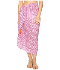 Hat Attack Printed Sarong Cover Up Pink Blurry Stripe Scarves