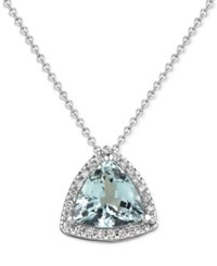 Macy's Aquamarine 1 1 2 Ct. T.W. And Diamond 1 8 Ct. T.W. Pendant Necklace In 14K White Gold
