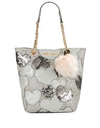Betsey Johnson Sweet Hearts Tote And Faux Fur Charm Set Silver