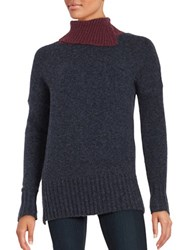French Connection Rsvp Colorblocked Turtleneck Sweater Navy