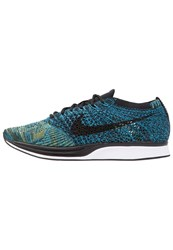 Nike Performance Flyknit Racer Competition Running Shoes Blue Glow Black Yellow Strike