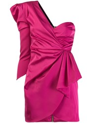 Nineminutes Gathered One Shoulder Mini Dress Pink
