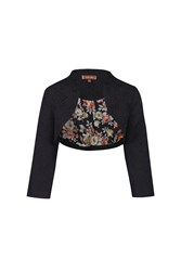 Jolie Moi High Collar Bolero Jacket Black