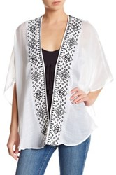 Cejon Accessories Embroidered Trim Tassel Shawl White