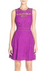 Adelyn Rae Women's Illusion Yoke Lace Fit And Flare Dress Purple