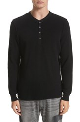 Ovadia And Sons Men's Long Sleeve Wool Henley Black