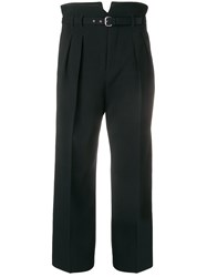 Red Valentino High Waisted Cropped Trousers Black