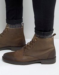 Asos Boots In Brown Leather With Faux Shearling Lining Brown
