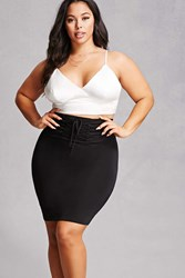 Forever 21 Plus Size Lace Up Pencil Skirt Black