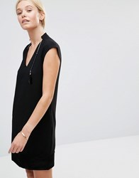 See U Soon Shift Dress With Contrast Hem And Feather Detail Black
