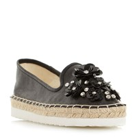 Head Over Heels Enista Floral Embellished Loafers Black