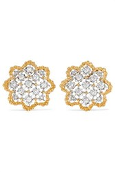 Buccellati Rombi 18 Karat Yellow And White Gold Diamond Earrings