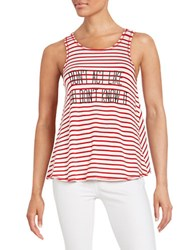 William Rast Striped Text Graphic Tank Red