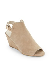 Kenneth Cole Dana Suede Slingback Wedge Sandals Beige