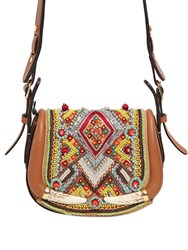 Roberto Cavalli Small Embroidered Leather Bag W Horns