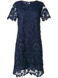 Luisa Cerano Lace Fitted Dress Blue