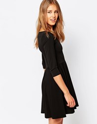 Closet London 3 4 Sleeve Skater Dress Black