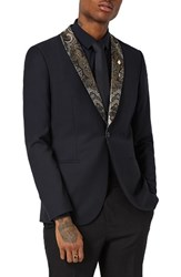 Topman Men's Skinny Fit Tuxedo Jacket With Paisley Shawl Lapel Black Multi