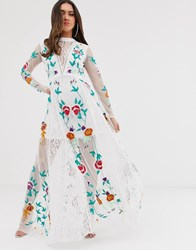 Frock And Frill Allover Floral Embroidered Prairie Maxi Dress In White